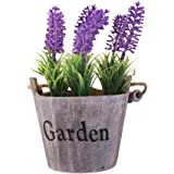 Life Up® Künstliche Blumen im Topf Lavendel Kunstblume Deko mit Blumentopf Holz hängend Kunstpflanzen 25cm * 12.5cm Violett