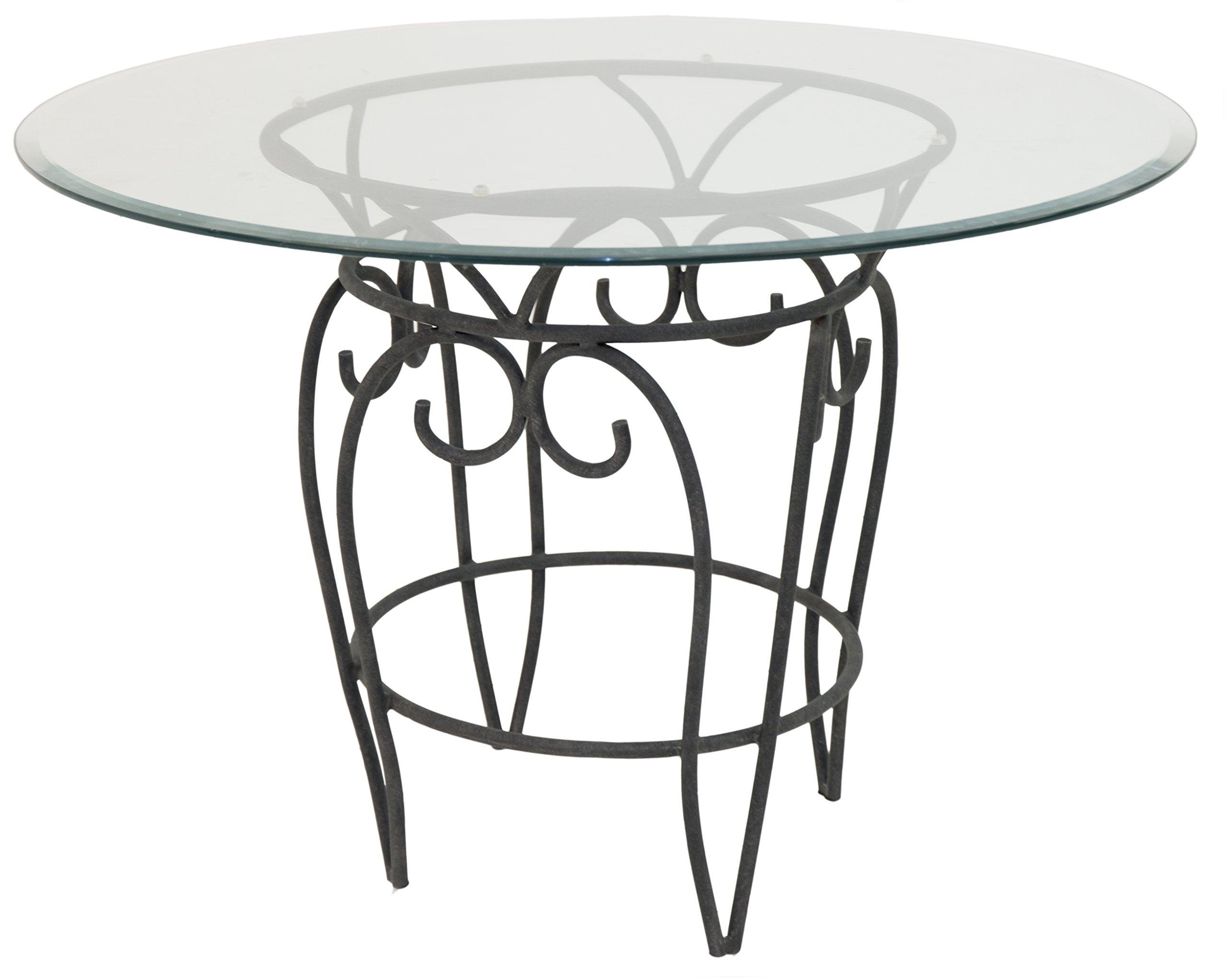 Impacterra Solar Dining Table, 42'' Diameter, Midnight Platinum/Clear Glass