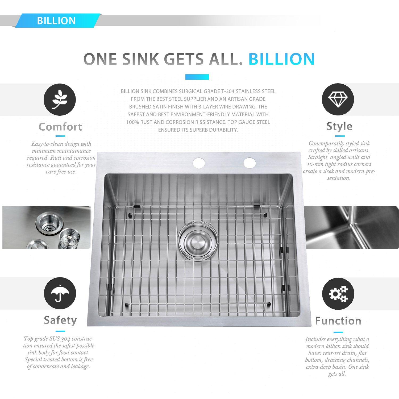 BILLION 25''x22''x10'' Inch Drop-in Overmount 16 Gauge Handmade Single Bowl Stainless Steel Kitchen Sink, Round Corners Topmount Sink With Drainer & Bottom Grid by Billion (Image #2)