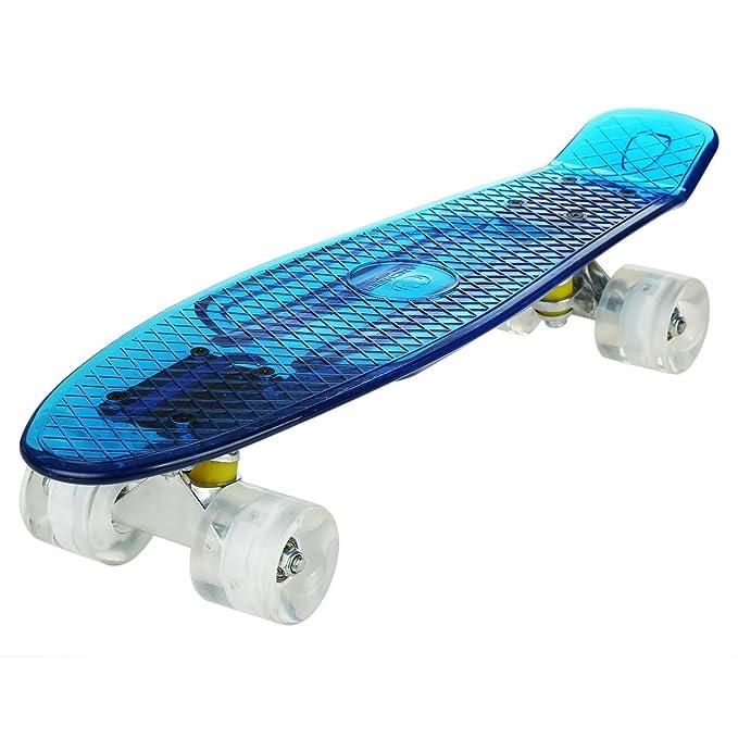 """Lonlier Monopatín de Ruedas Ligeras del LED Skateboard 22"""" Pulgadas, Tabla Plástica, Rueda"""