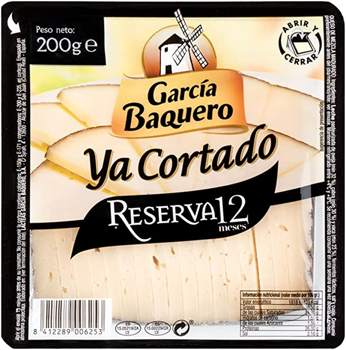 García Baquero Queso Reserva, 12 Meses ya Cortado, 200g