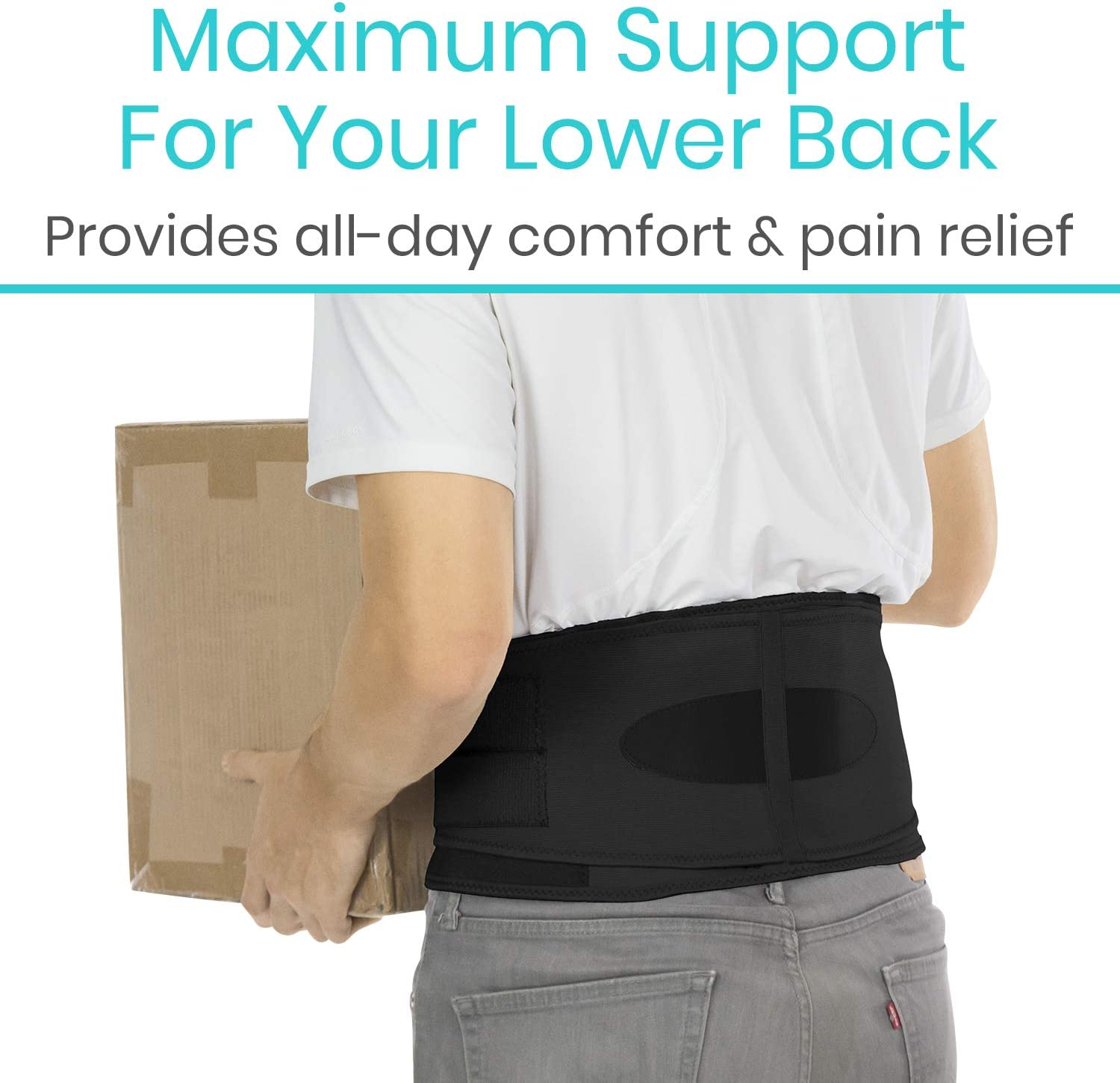 Vive Lower Back Brace - Support for Chronic Pain, Sciatica, Spasms, Nerve and Herniated or Slipped Disc