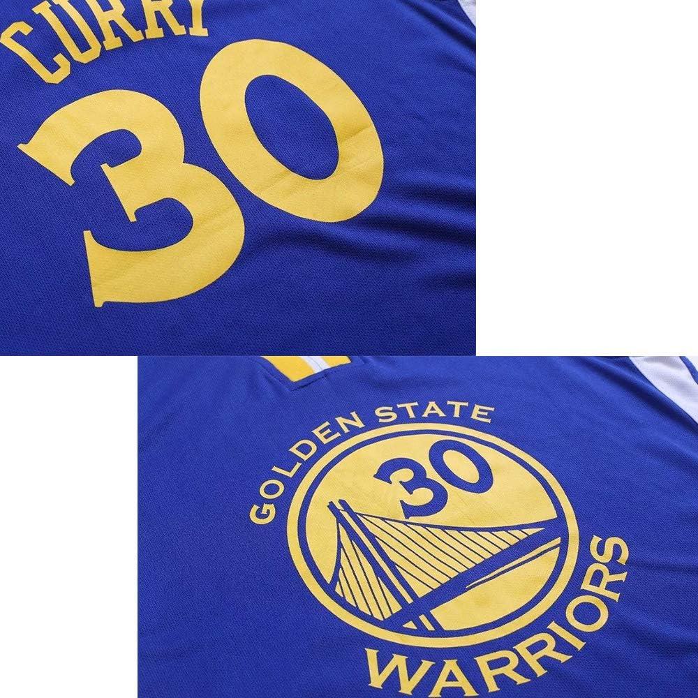 Maillot Respirant /à s/échage Rapide Maillot Stephen Curry n /° 30 en Tissu de s/écurit/é pour Les Warriors-White-XS Tenue de Basket Enfant Fan