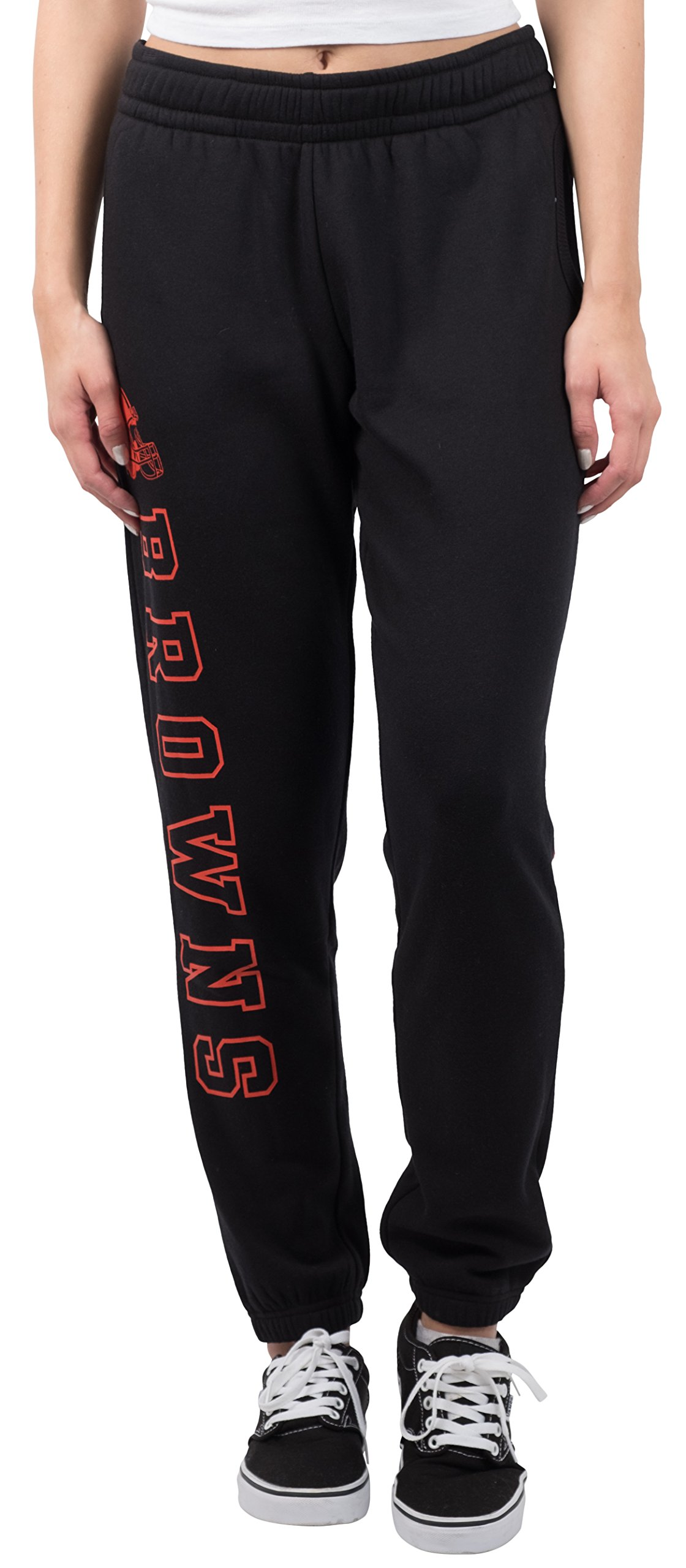 Ultra Game NFL Cleveland Browns Women's Relax Fit Fleece Jogger Sweatpants, Large, Black