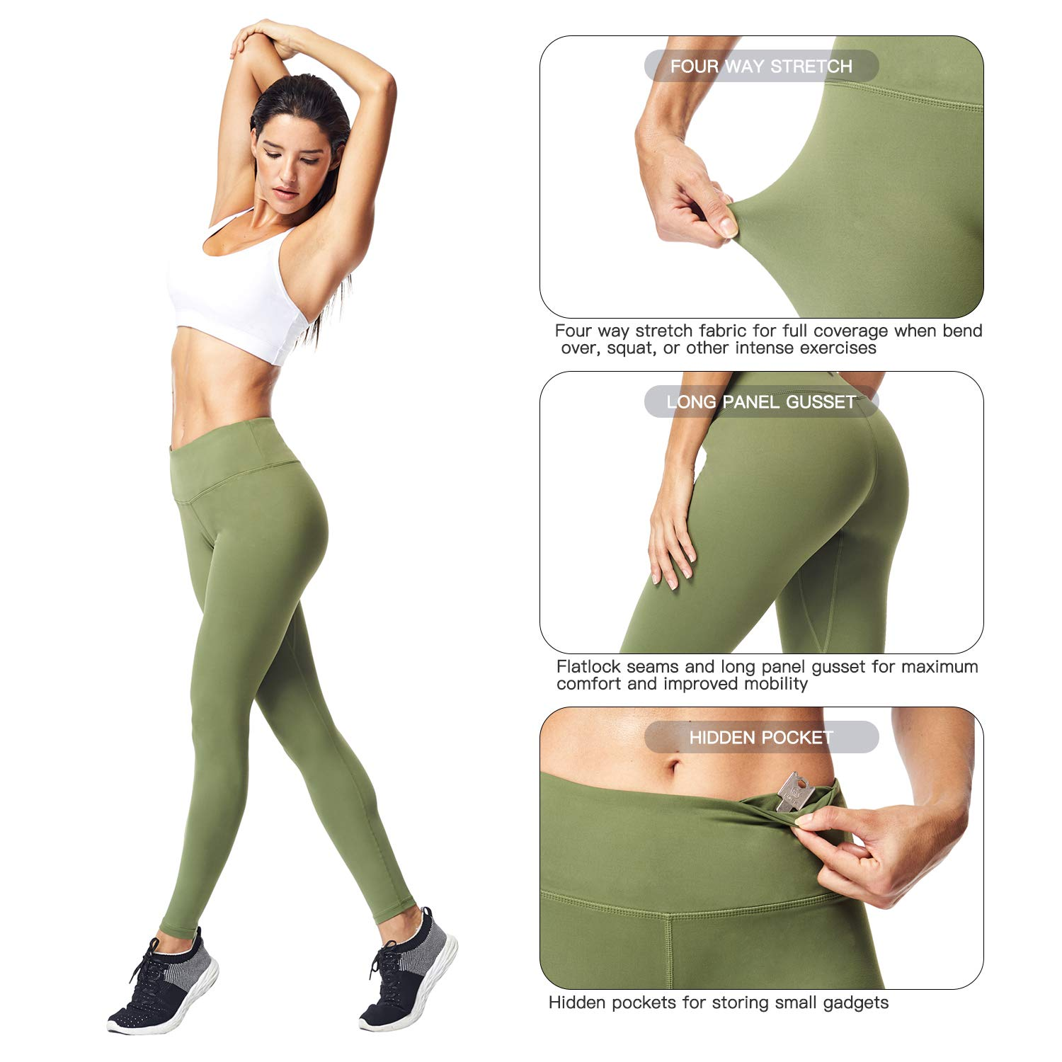 Matymats Women\'s Tummy Control Yoga Leggings High Waist Non See Through Running Workout Pants with Pockets