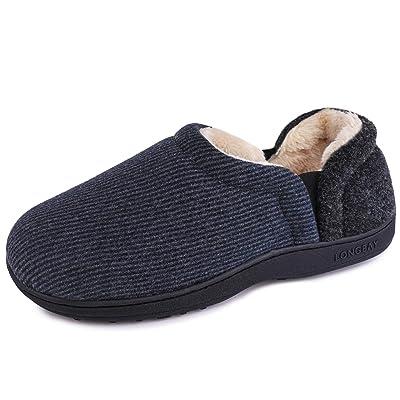 LongBay Men's Cozy Woolen Elastic Slippers with Warm Plush Fleece Lining and Memory Foam   Slippers