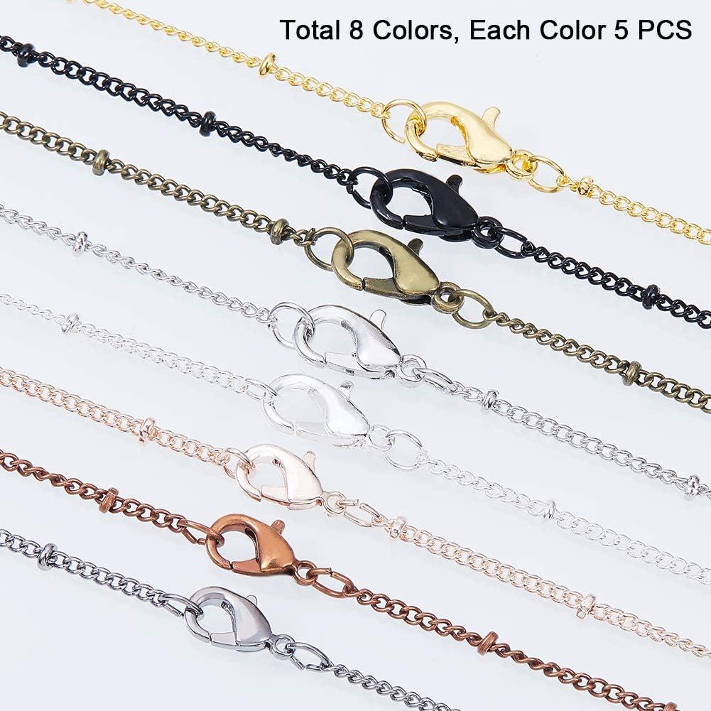 30 Strand PandaHall 40 filamentos 8 Cadenas de Collar de Color para Collar Collar de Cadena de Cable con Cierres de Langosta para Collar Colgante Fabricaci/ón de Joyas