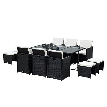 Ensemble Salon de Jardin encastrable 10 Places 6 fauteuils monoblocs ...