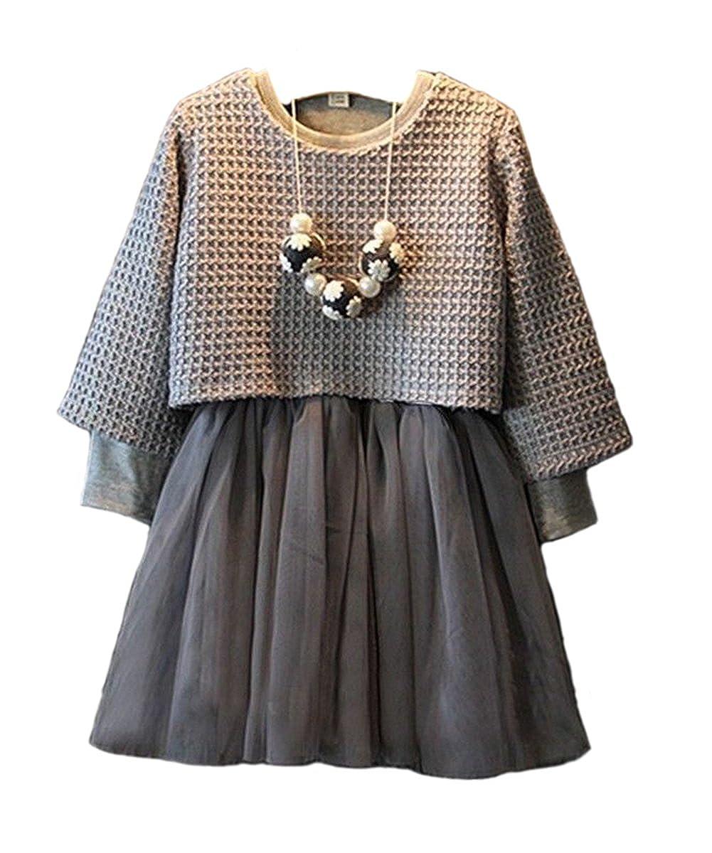 Cute Baby Girls 2pcs Dress Gray Sweater Top+One-piece Tutu Dress