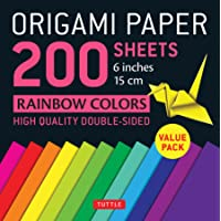 """Origami Paper 200 sheets Rainbow Colors 6"""" (15 cm): Tuttle Origami Paper: High-Quality Double Sided Origami Sheets…"""