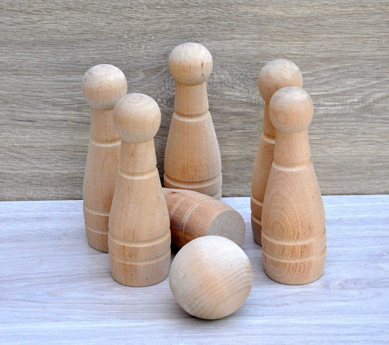 Wood bowling set Wood bowling pins and balls for kids Outdoor game Wooden bowling games for kids Wooden bowling pins for children 6 years old