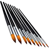 Marrywindix 9pcs Round Pointed Tip Pony Hair Artists Filbert Paintbrushes, Watercolor Paint Brush Set Acrylic Oil Painting Brush black