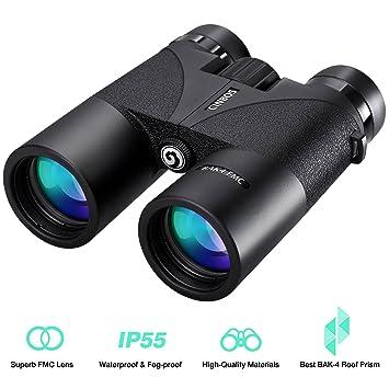CINBOS 12x42 Prismáticos para Adultos Binoculares Profesionales Compactos Impermeable HD Telescopio Óptico BAK4 Prisma FMC Lente