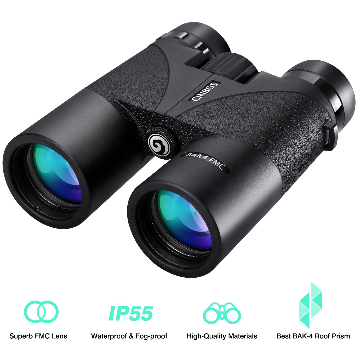 12x42 Binoculars for Adults, Cinbos Panther Professional Binoculars Compact for Bird Watching/Outdoor Sports, Waterproof Fog-Proof HD Optics Telescope BAK4 Prism FMC Lens with Neck Strap/Carrying Bag by CINBOS