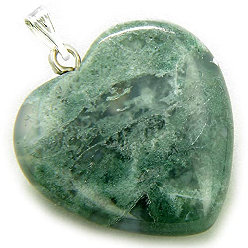 Lucky Crystal Point Pendant Necklace in Moss Agate Gemstone Xi3TannWv