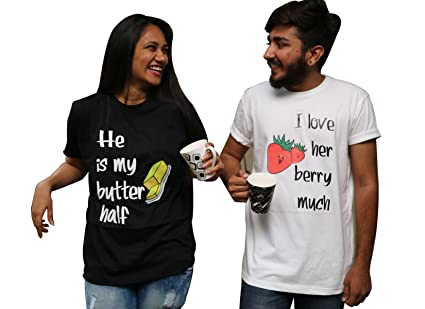 OyeHappy Couple Tshirts I Love You Berry Much And Are My Butter Half Gift