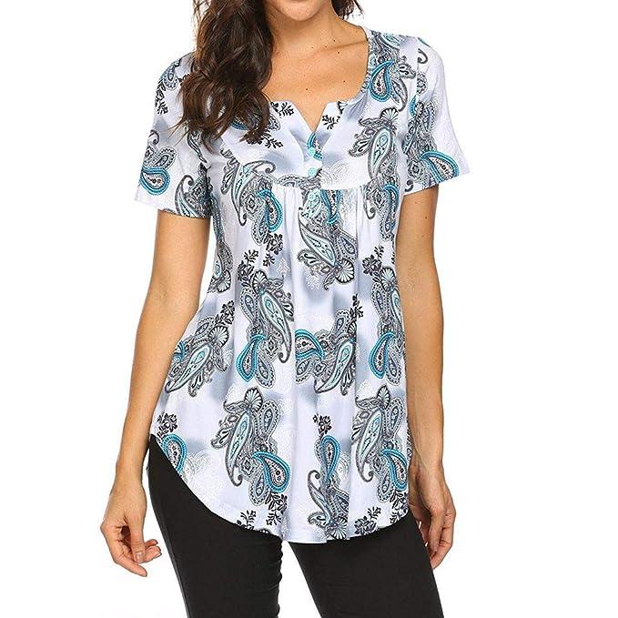 Camiseta de Manga Corta Mujer Camisetas Verano Blusa con Estampado ...
