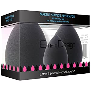 EmaxDesign 3 Pieces Makeup Blender Sponge Set, Foundation Blending Blush Concealer Eye Face Powder Cream Cosmetics Beauty Make up Sponges. latex free, non-allergenic and odour free.
