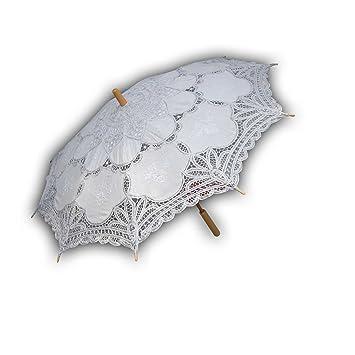 El celibato 97014842.001 - tela de la cortina del paraguas nupcial con mango de madera y