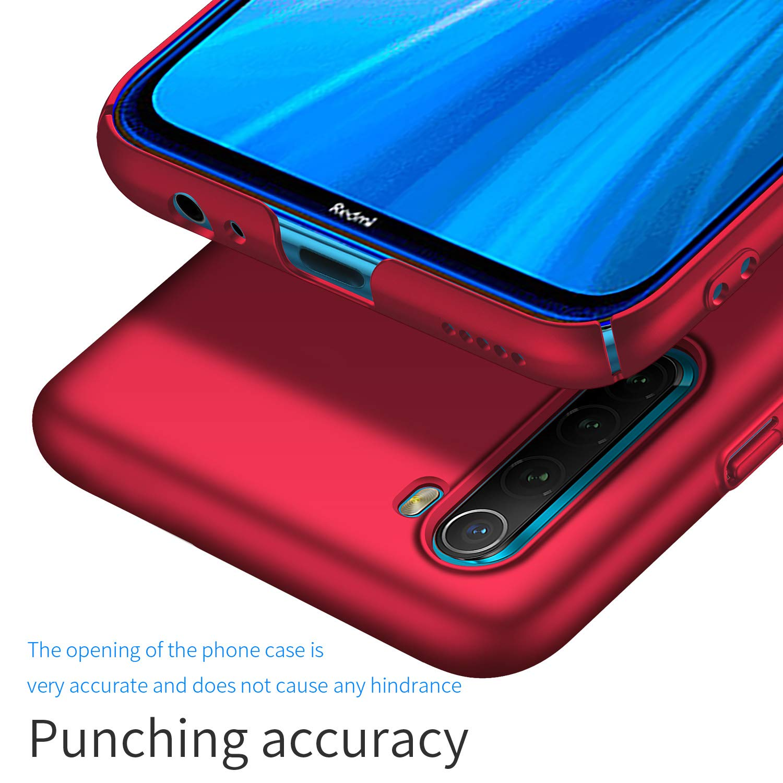 UCMDA Funda para Xiaomi Redmi Note 8 con Protector de Pantalla Rosa Funda Duro PC Delgada Minimalista Protector Carcasa para Xiaomi Redmi Note 8 con Cristal Templado