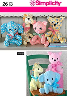 product image for Simplicity 2613 Cute Stuffed Animal Sewing Pattern for Children and Toddlers by Elaine Heigl Designs, One Size