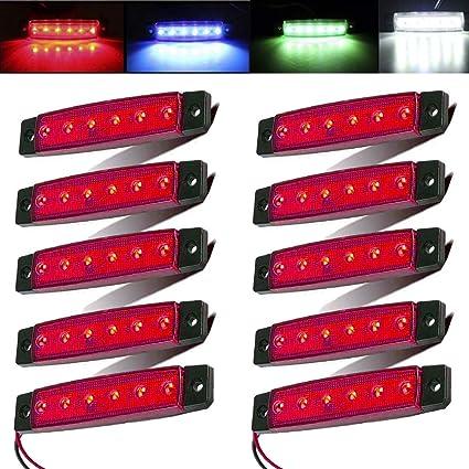 Electrely 10 Stück Led Indikator Seitenmarkierungsleuchten Vorne Hintere Seite Lampe Position12v Für Anhänger Lkw Wohnwage Wohnmobile Van Lkw Bus Boot Traktor Rot Auto