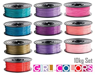 10 x Filamento PLA 1 kg Rollo 1,75 mm 10 colores Girl-Colors para ...