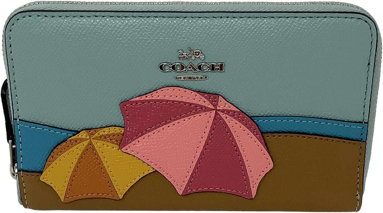 Coach Medium Zip Around Wallet with Umbrella Motif Aqua Style No. 2369