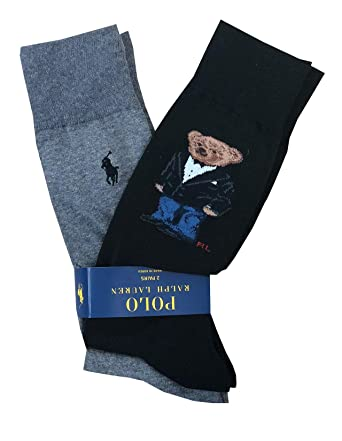 4ba536373f Amazon.com  Polo Ralph Lauren Mens Teddy Bear Pony Logo 2 Pack Socks (One  size
