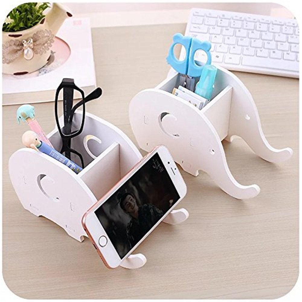 Cell Phone Stand, Cute Wood Elephant Pencil Pen Holder,With Phone Holder Desk Organizer Desktop Pen Pencil Mobile Phone Bracket Stand Storage Pot Holder Container Stationery Box Organizer
