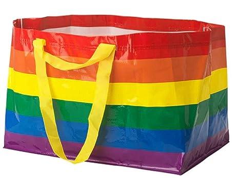 Amazon.com: SET OF 2 TWO IKEA KVANTING Rainbow Shopping Bags ...