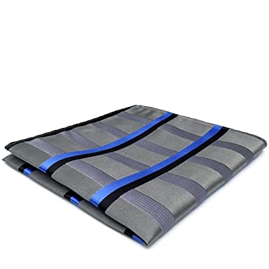 Shlax/&Wing Stripes Blue Silver Silk Pocket Square Mens Hanky Business