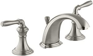 KOHLER Devonshire K-394-4-BN 2-Handle Widespread Bathroom Faucet with Metal Drain Assembly in Brushed Nickel