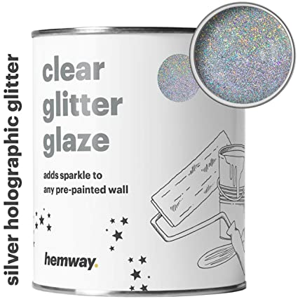 Hemway Clear Glitter Paint Glaze Silver Holographic 1l Quart For Pre Painted Walls Acrylic Latex Emulsion Ceiling Wood Varnish Dead Flat