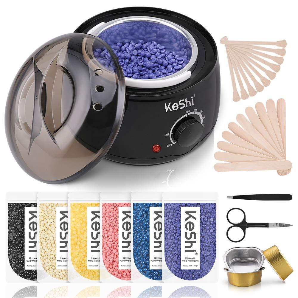 Waxing Kit, KeShi Wax Warmer Hair Removal Home Hard Wax Kit with 16.8oz 6 Bags Hard Wax Beans for Legs, Face, Eyebrows, Bikini, Brazilian Waxing Kit for Women Men