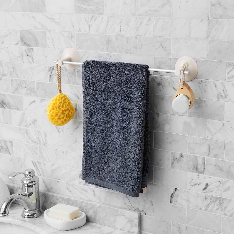 Bathroom Towel Bar-Shower Suction Towel Hanger-Bath Single Towel Holder by Eunion, Aluminum by Eunion (Image #6)