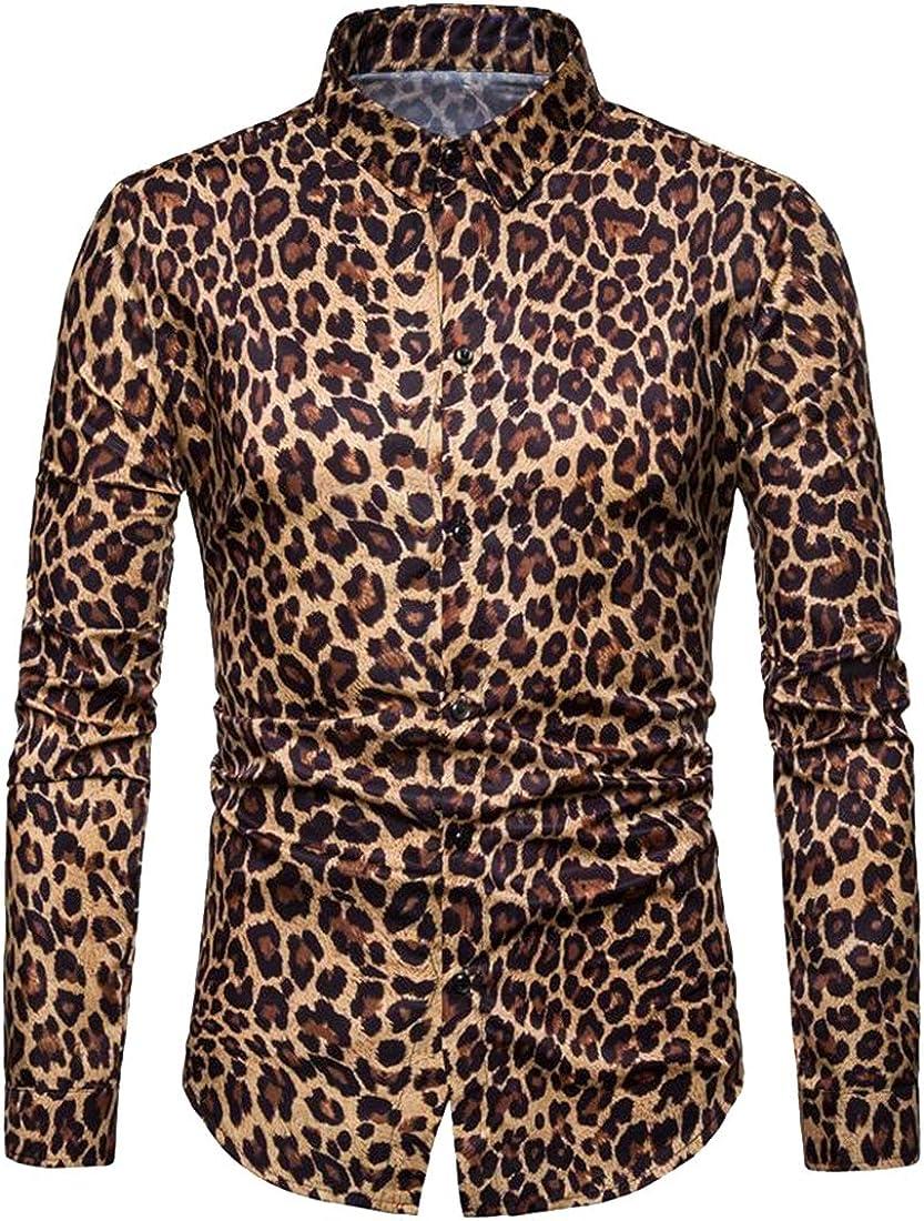 XiaoTianXinMen XTX Mens Button Down Leopard Print Slim Long Sleeve Casual Dress Work Shirt