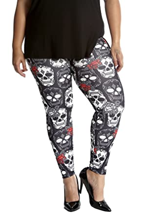 New Womens Plus Size Leggings Ladies Skull Halloween Spooky Print Long Nouvelle
