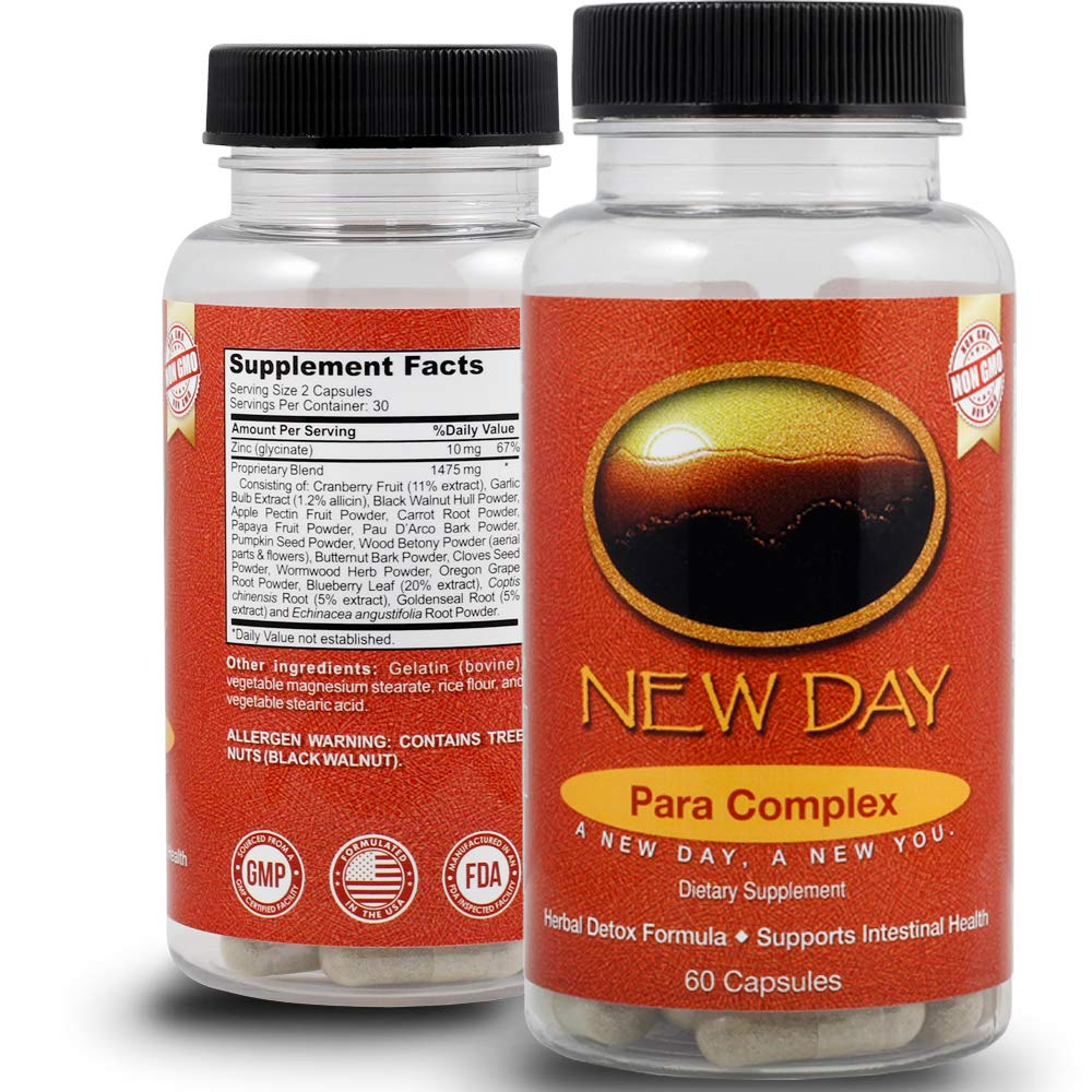 10 Day Parasite Cleanse for Adults | Great Intestinal, Digestive and Colon Support for Humans | 60 Non-GMO Capsules Made in the USA in an FDA Inspected GMP Certified Facility by New Day Health