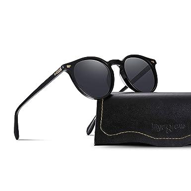 64ba793d0cd0f Vintage Round Sunglasses Women Polarized Lens Adjustable Acetate Retro  Brand Designer Sunglasses for Women Men (