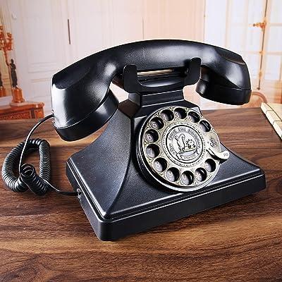 GFL Antique téléphone/Rotation du téléphone filaire/bureau de bureau fixe Landline/noir sonneries mécaniques L22CM * W18CM * H20CM