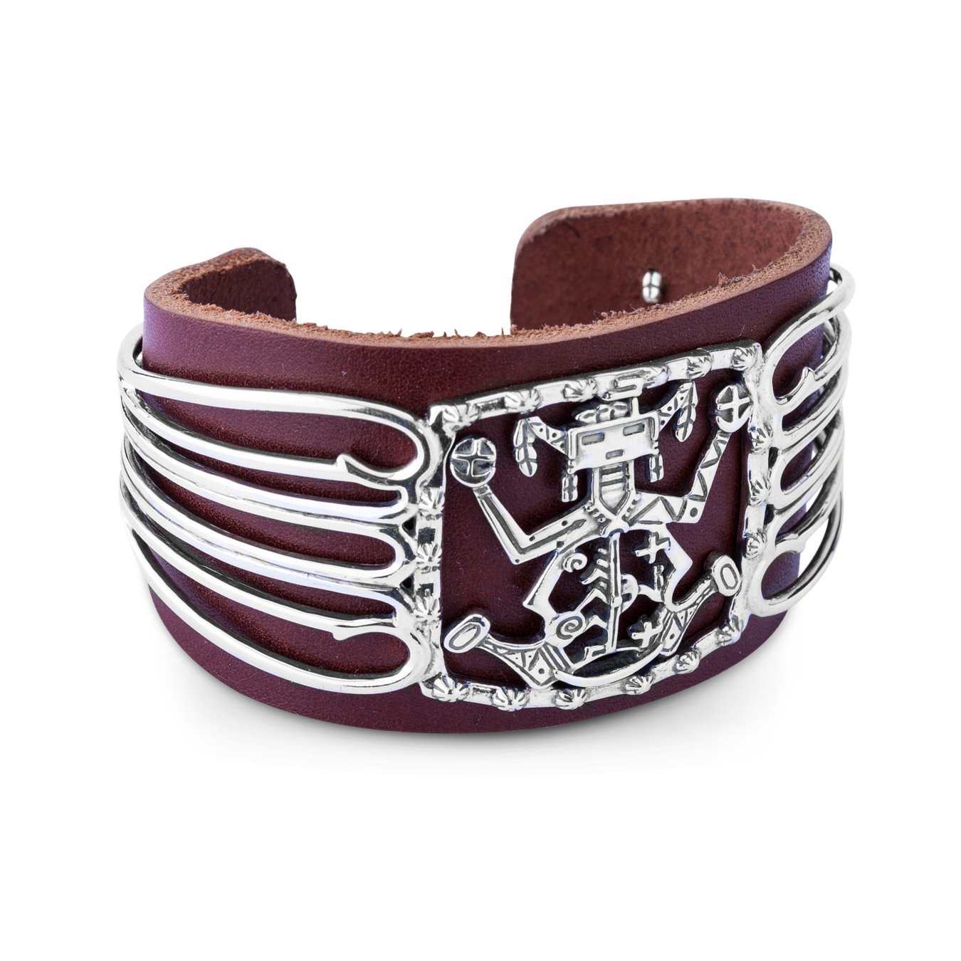 Fritz Casuse Brown Leather Spirit Figure Cuff Bracelet, Medium by American West