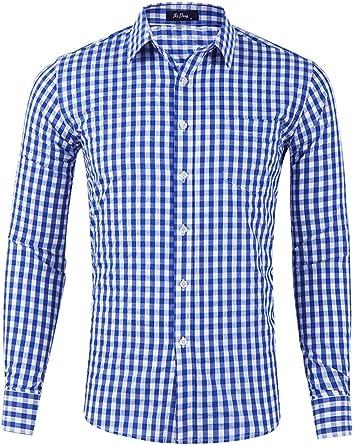 Hombre Camisa a Cuadros Camiseta Casual Slim Fit Manga Larga Botón Bolsillo Casual Franela Deportiva: Amazon.es: Ropa y accesorios