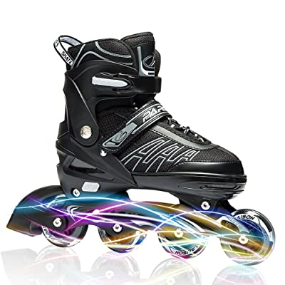 ITurnGlow Adjustable Inline Skates for Kids and Adults, Roller Skates with Featuring All Illuminating Wheels, for Girls and Boys, Men and Ladies Gray Size : Sports & Outdoors