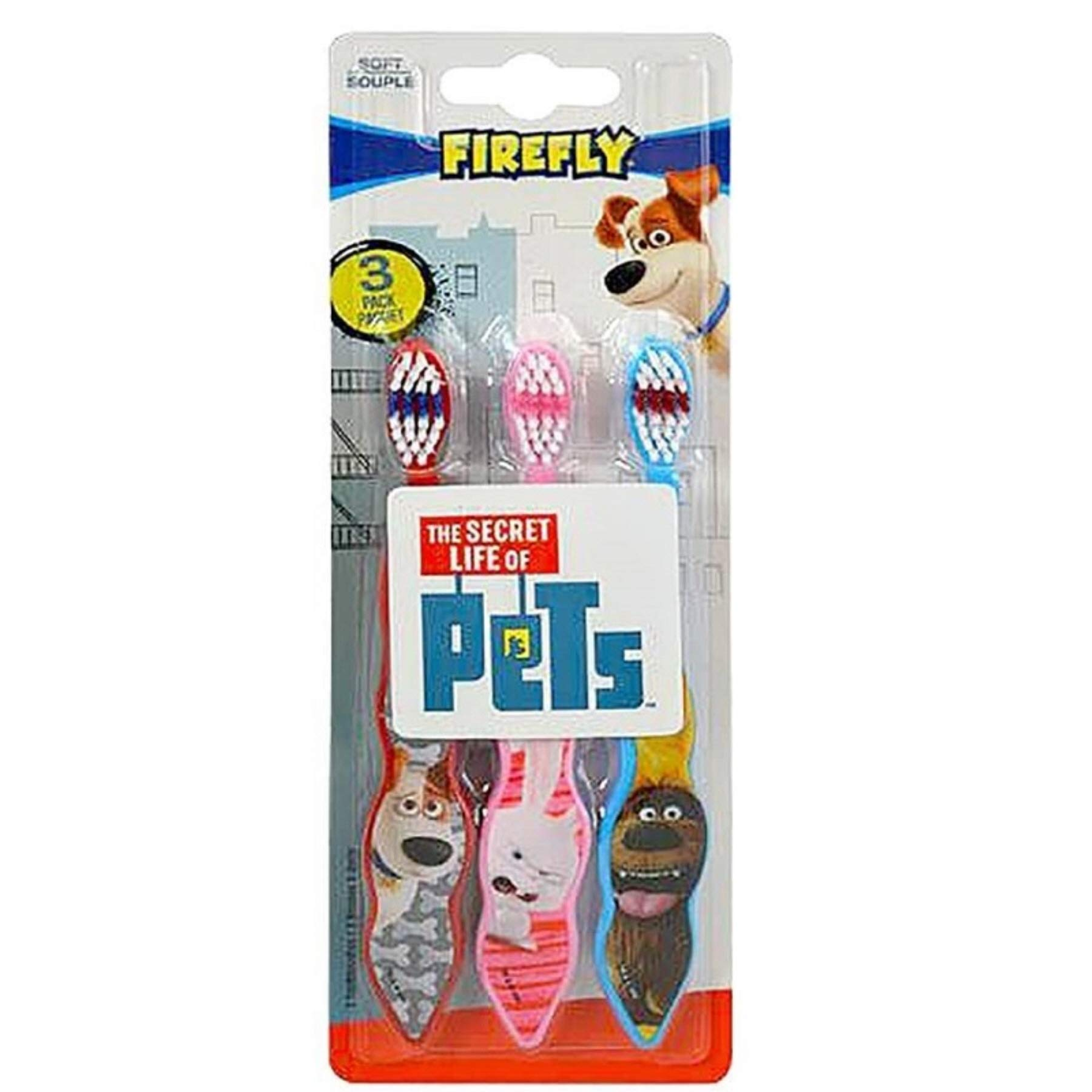 (Pack of 24, 72 Ct) Firefly Kids Toothbrush Soft The Secret Life of Pets 3-Pack Toothbrushes (Max,Snowball, Duke)