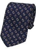 【dunhill】ダンヒル イタリア製 ミニペイズリー刺繍 シルクネクタイ 紺