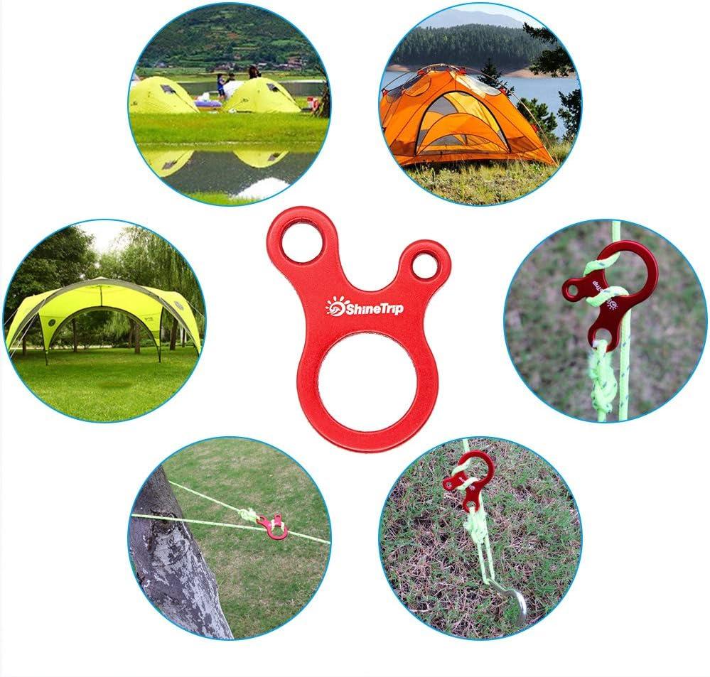 DingGreat 10 Pcs Alliage daluminium Tente Guyline Coureur Cordon Tendeur Tendeurs Ajusteur de Corde pour Tente Randonn/ée Camping Rouges
