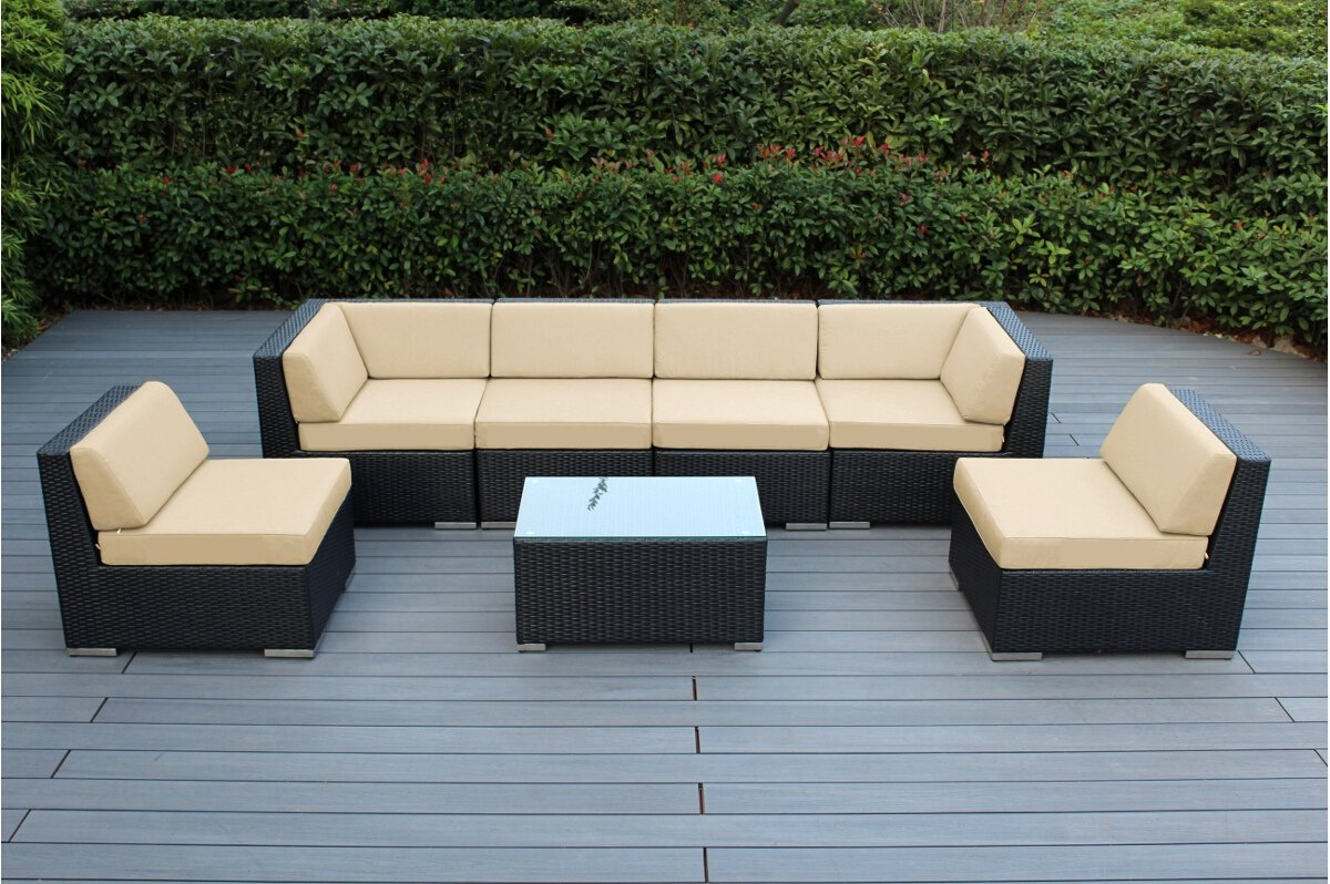 Amazon com ohana 7 piece outdoor patio furniture sectional conversation set black wicker with beige cushions no assembly with free patio cover garden
