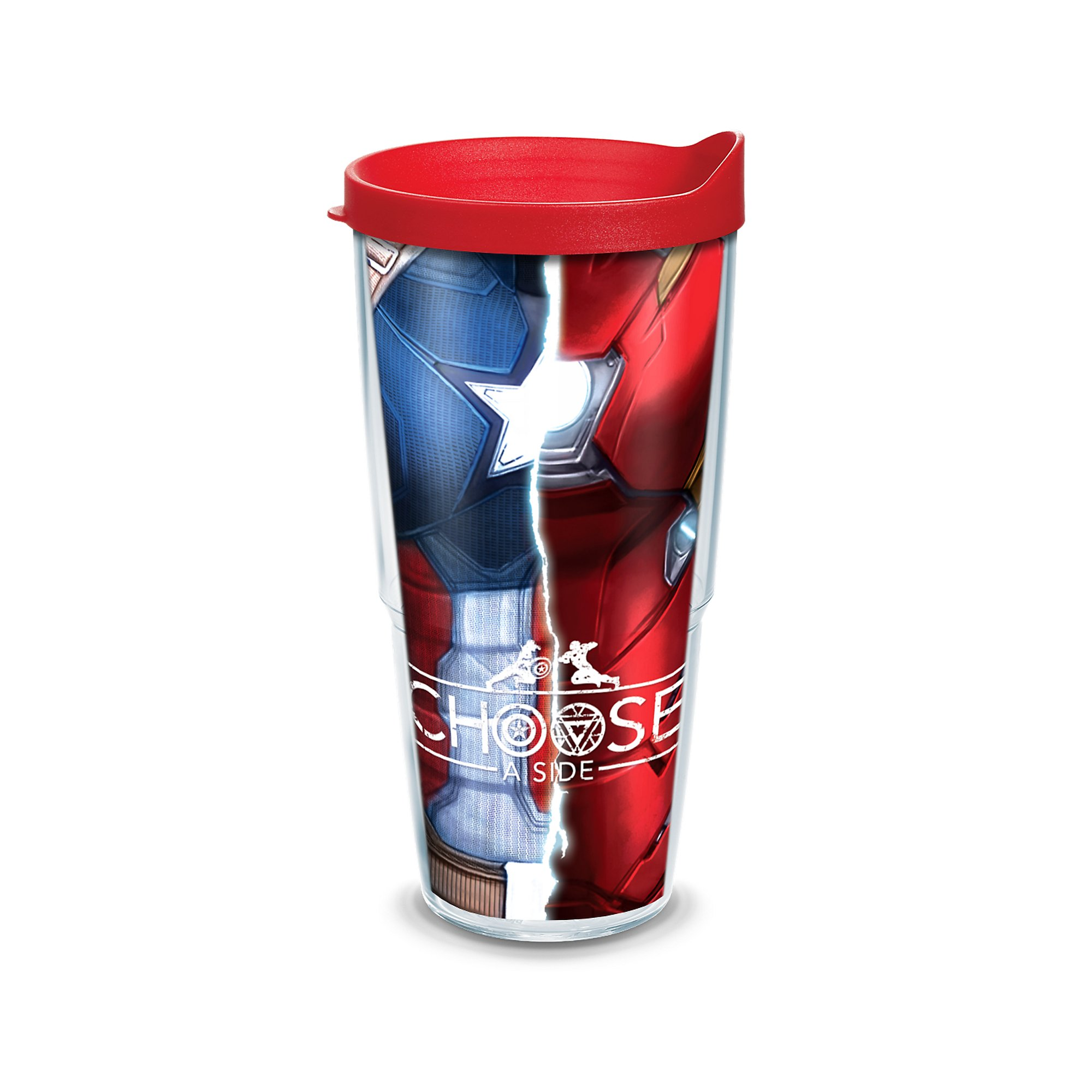 Tervis Marvel Captain America Movie Torso Wrap Clear Inner Tumbler with Red Lid, 24 oz