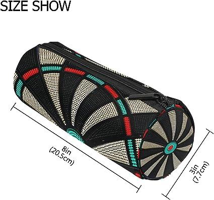 Estuche cilíndrico estilo vintage con cremallera y diseño de diana de dardos para bolígrafos o maquillaje: Amazon.es: Oficina y papelería